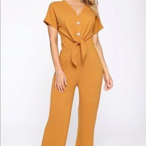 Fashion Nova In This Life Jumpsuit - Mustard